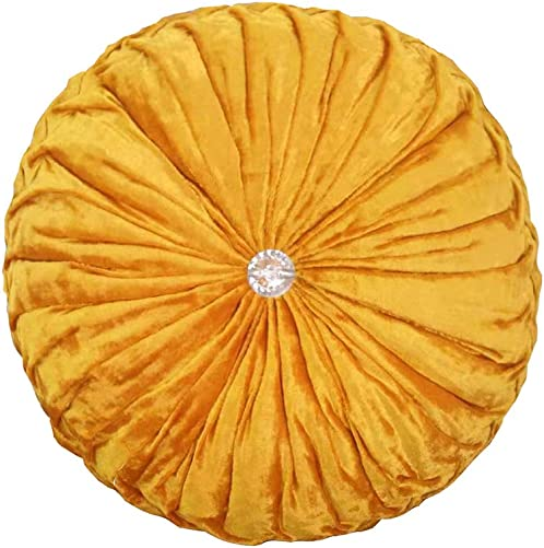 JINGXIN Round Velvet Pumpkin Pillow Sofa Throw Pillows Home Decorative Cushions-Diameter 13.39 inch,Golden