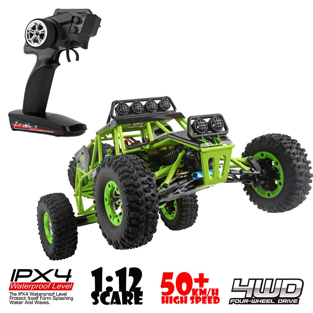 ASfairy RC Car 1:12 Scale 4WD High Speed 50km/h Off -Road/Rock Climbing Buggy Car 2.4Ghz Electric with LED Light/Waterproof/Shockproof Boys' Suprise Gift