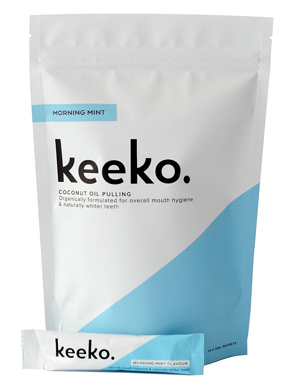 Keeko - 100% Natural / Organic Oil Pulling Sachets (Morning Mint) (14 Packets (2 Week Course))