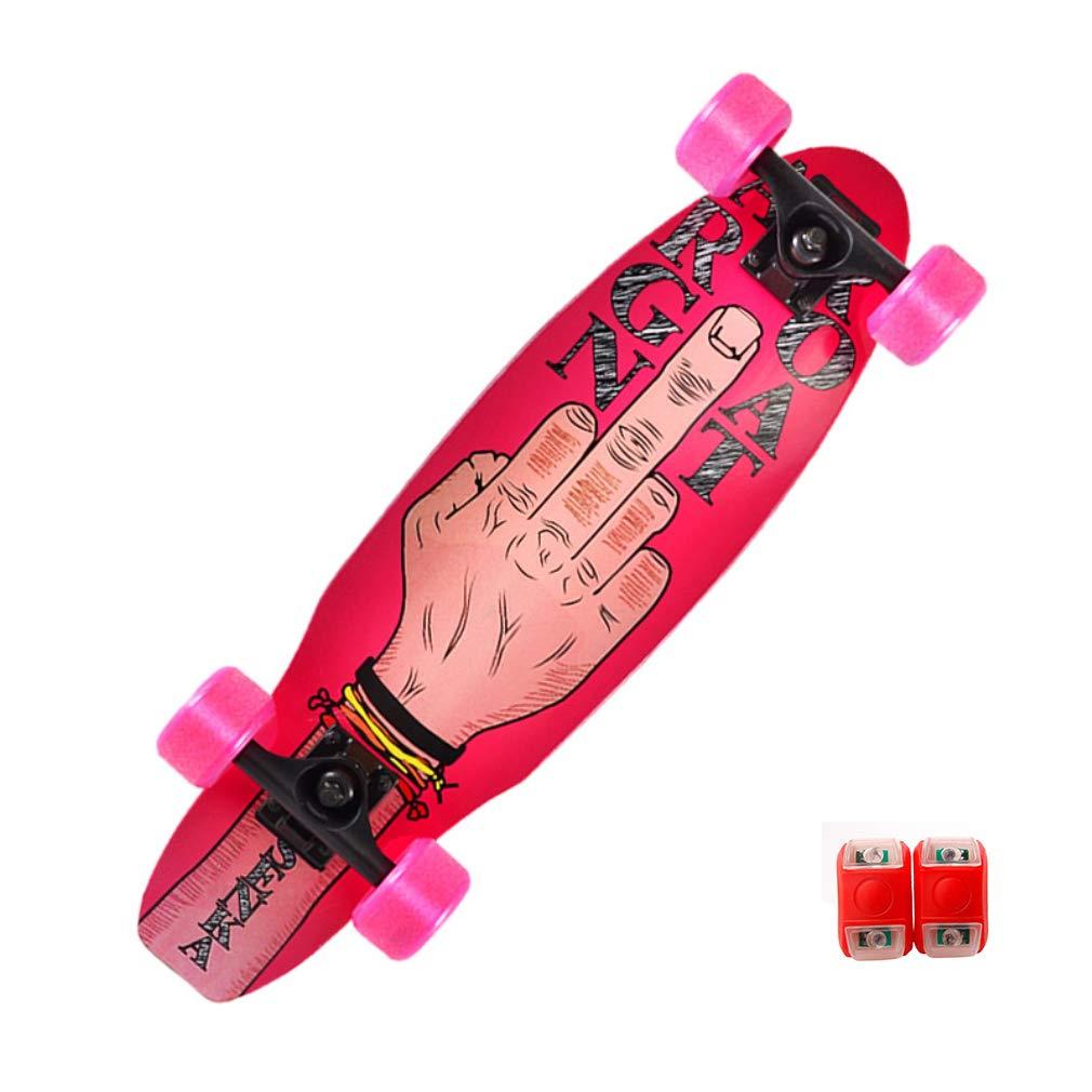 DUBAOBAO Mini Street Cruiser Unisex Retro Skateboard 4 Colorei, Dare spie, Telaio in Acero da 27 , Carta smeriglio,rosa