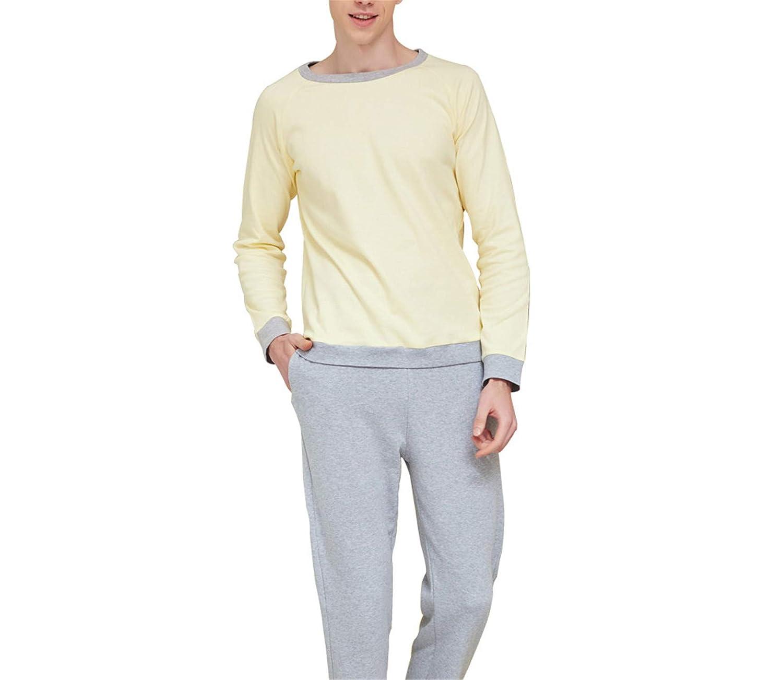 Thadensama Men Pajamas Set Cotton Full O-Neck Night Casual Sleepwear Tops+Pants Set Spring Men Home Clothes Male Tracksuit