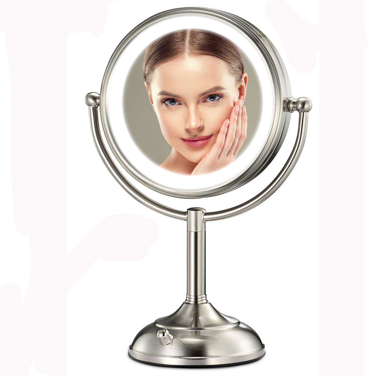 Professional 7.5'' Lighted Makeup Mirror, 10X Magnifying Vanity Mirror with 28 Medical LED Lights, Senior Pearl Nickel Cosmetic Mirror,Brightness Adjustable(0-1000Lux) Desk Lamp Night Light Alternative