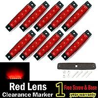 "10 pzs. TMH® 3,8 ""6 LED de lado rojo Marcador LED, luces de marcador de remolque, marcadores de luz Led para camiones, luz de marcador, marcador de cabina, luz de marcador de RV Rojo, luz de posición lateral trasera"