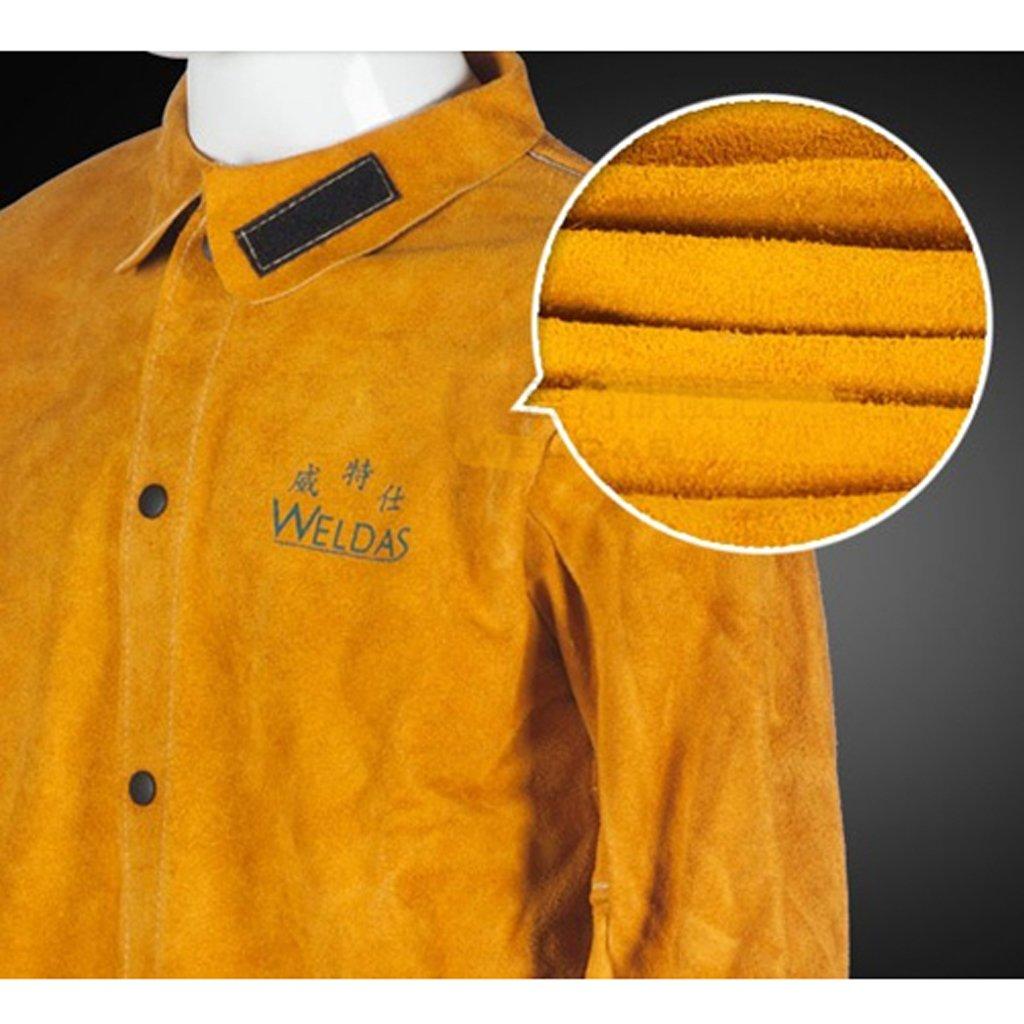 MagiDeal Soldador de Hombre Soldadura Chaqueta Ropa Protectora Ropa de Traje Soldadores de Seguridad - Amarillo, XL: Amazon.es: Jardín