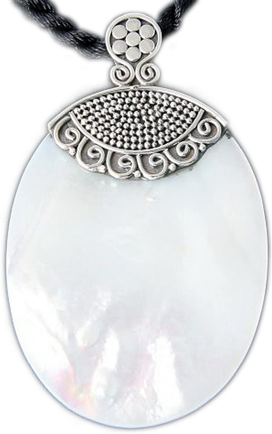 925 Sterling Silver Mother of Pearl Oval Bali Pendant with Black Cord Necklace