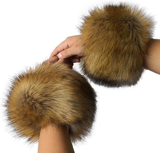Pair of Luxury Faux Raccoon Fur Soft Cuffs Wrist Hands Leg Warmer Ski Winter