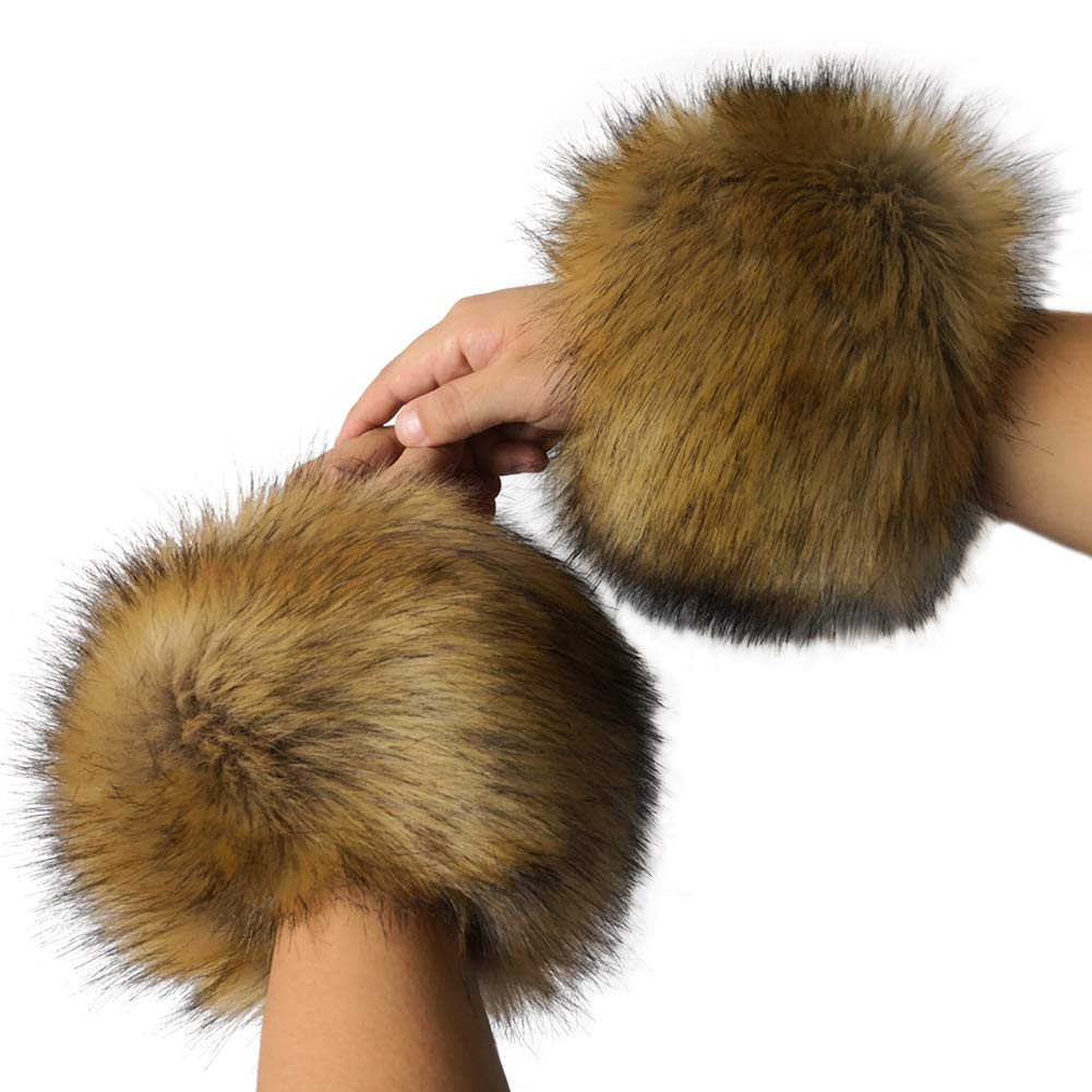 Faux Fur Wrist Cuffs Leg Cuff Warmer - HOMEYEAH Wrist Cover Furry Arm Warmers Boots Shoes Cover Halloween Decoration HY-CUFF-raccoon