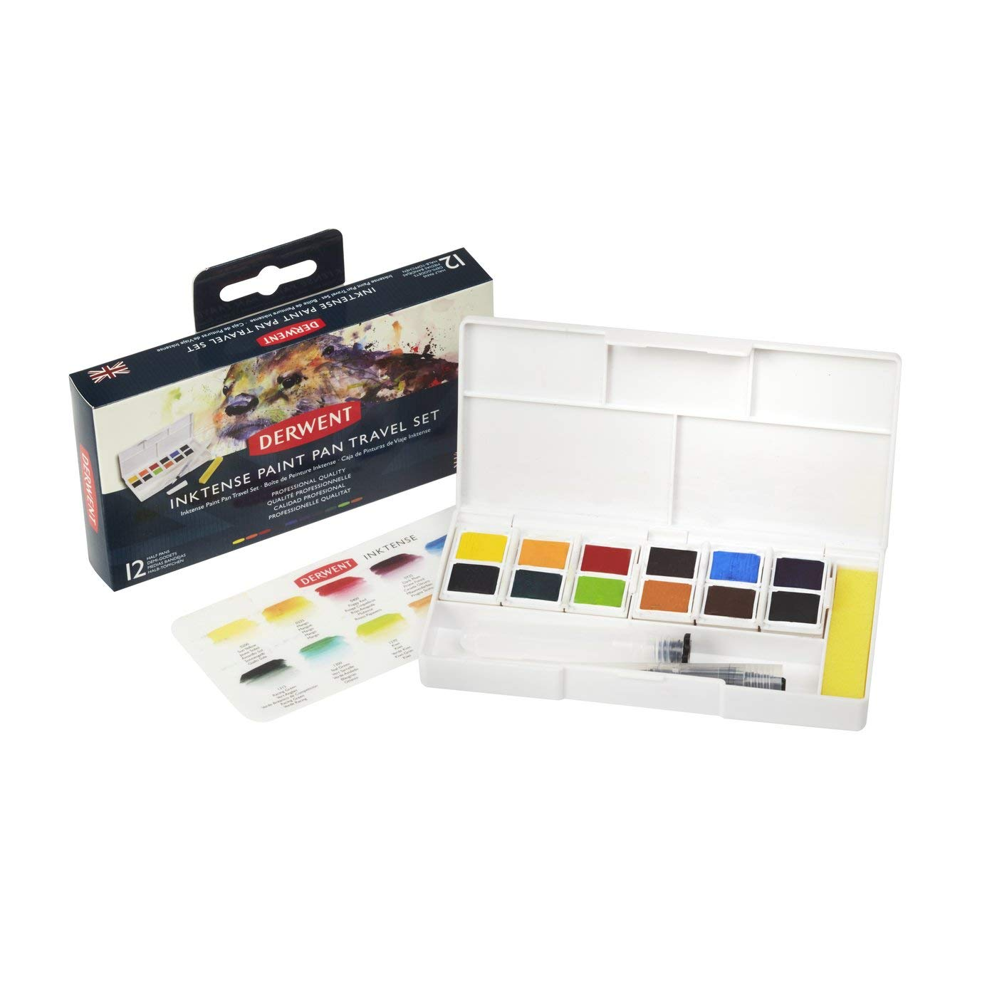 Derwent Inktense Paint Pan Travel Set, Includes 12 Colors and a waterbrush (2302637) MACPHERSON 2302636