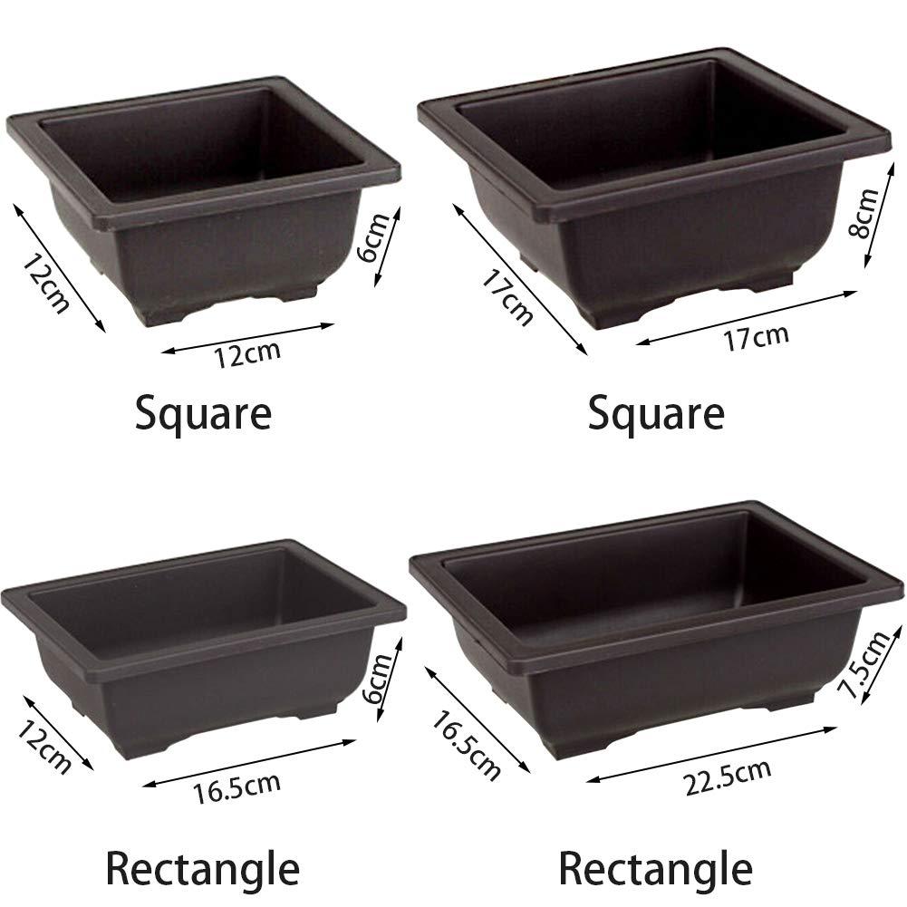 rectangulares Large de pl/ástico para Interior y Exterior para decoraci/ón de Oficina en casa Platz Juego de 5 macetas de imitaci/ón de Color Lila