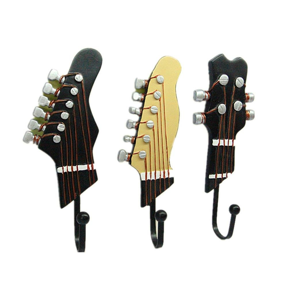 Awakingdemi Vintage Resin Guitar Head Metal Wall Hook Clothes Bag Hat Hanger Home Decor