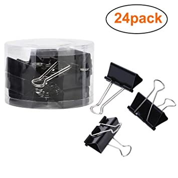 Amazon.com : Maddott Super Strong Binder Clips, 2 inches 24 pcs, Black : Office Products