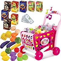 Toys N Smile 3 in 1 Kids Supermarket Plastic Shopping Cart Hand Induction with Light and Sound Pretend Play Toy for Kid with Fruits and Vegetables