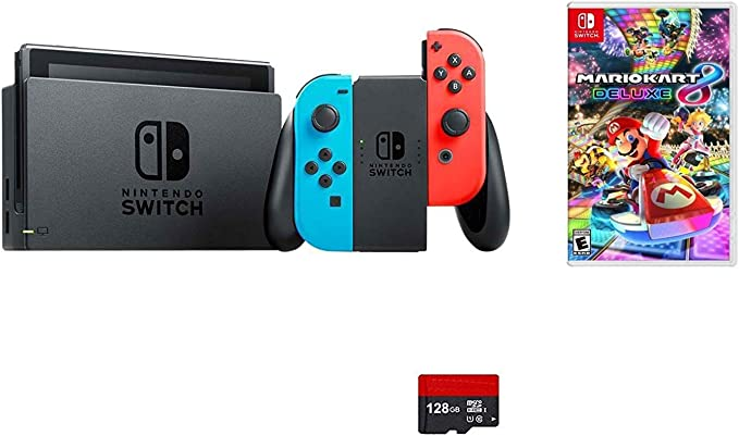 Nintendo Switch 5 items Bundle:Nintendo Switch 32GB Console Neon Red and Blue Joy-con,128 GB Micro SD Card,Mario Kart 8 Deluxe,HDMI Cable and Wall Charger: Amazon.es: Electrónica