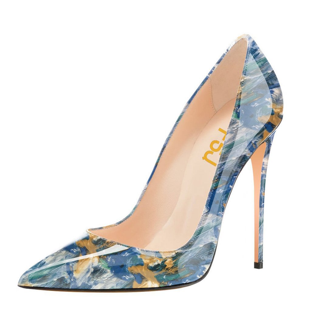 FSJ Women Fashion High Heel Stilettos Pointed Toe Pumps Evening Dress Printed Shoes Size 4-15 US B07DRCPCVL 6 B(M) US|Blue Multi