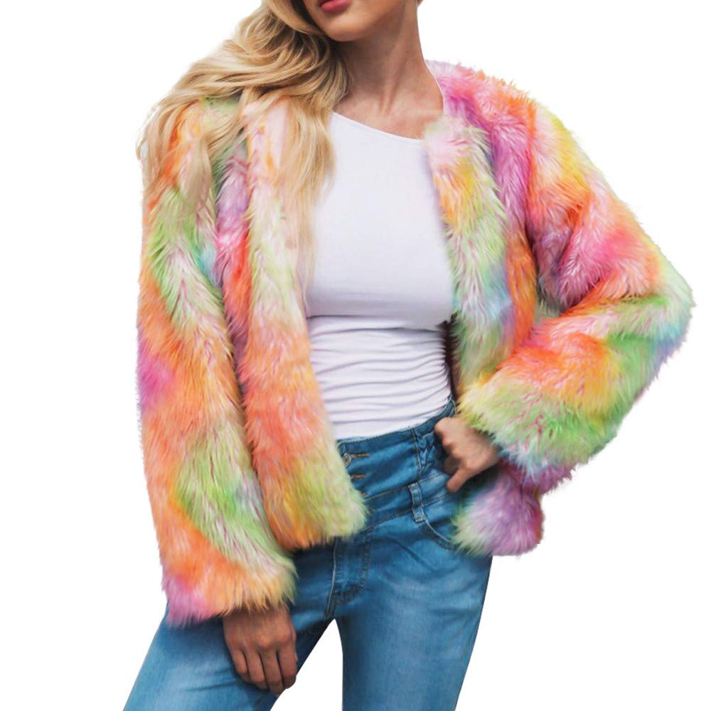 Womens Coat Hot Sale,DEATU Ladies Teen Girls Warm Faux Fur Coat Jacket Winter Gradient Color Parka Outerwear(Orange,XL)
