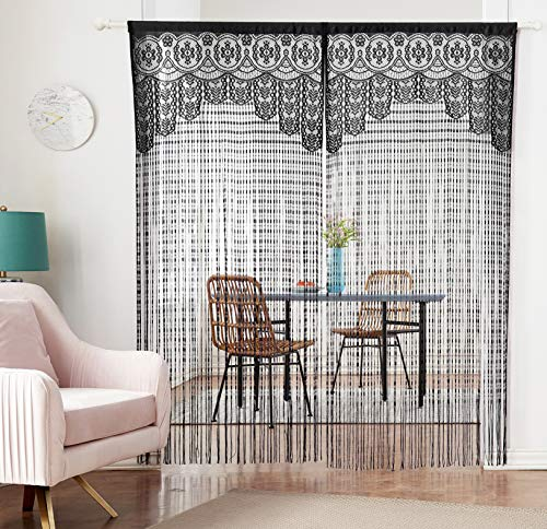 HSYLYM Lace Door Srting Curtain Warm Sheer Curtains Flat Tassel Ribbon Curtain Window Panel Room Divider Wall Decorations (Curtain Lace Black Panels)