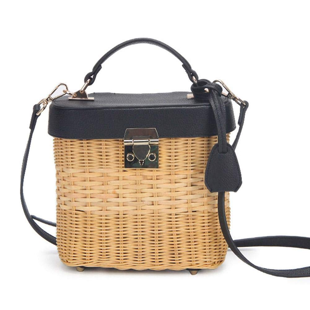 Women's Leather Strap Single-Shoulder Crossbody Bag,Handmade Woven Round Rattan Bag for Beach Travel and Everyday Use Off