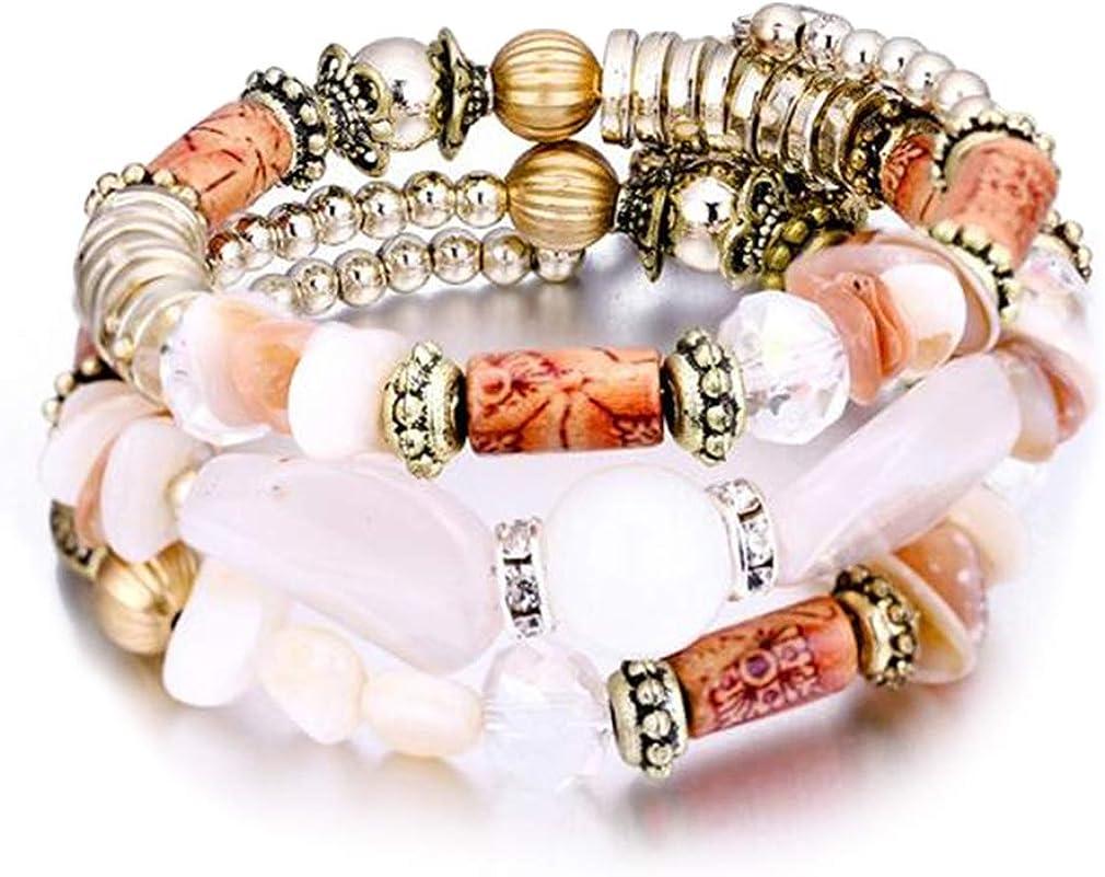YAZILIND Multicapa imitación ágata Shell Abalorios Elastic Chain Pulsera Vintage Ethnic Style Friendship Bracelets