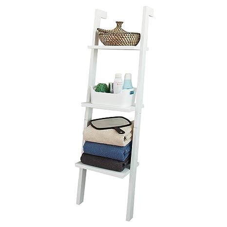 SoBuy® Estanterías para CDs y DVDs, Estantería de Pared, estanterias para Libros, estanteria de Escalera, FRG32-W(3 estantes/Blanco)