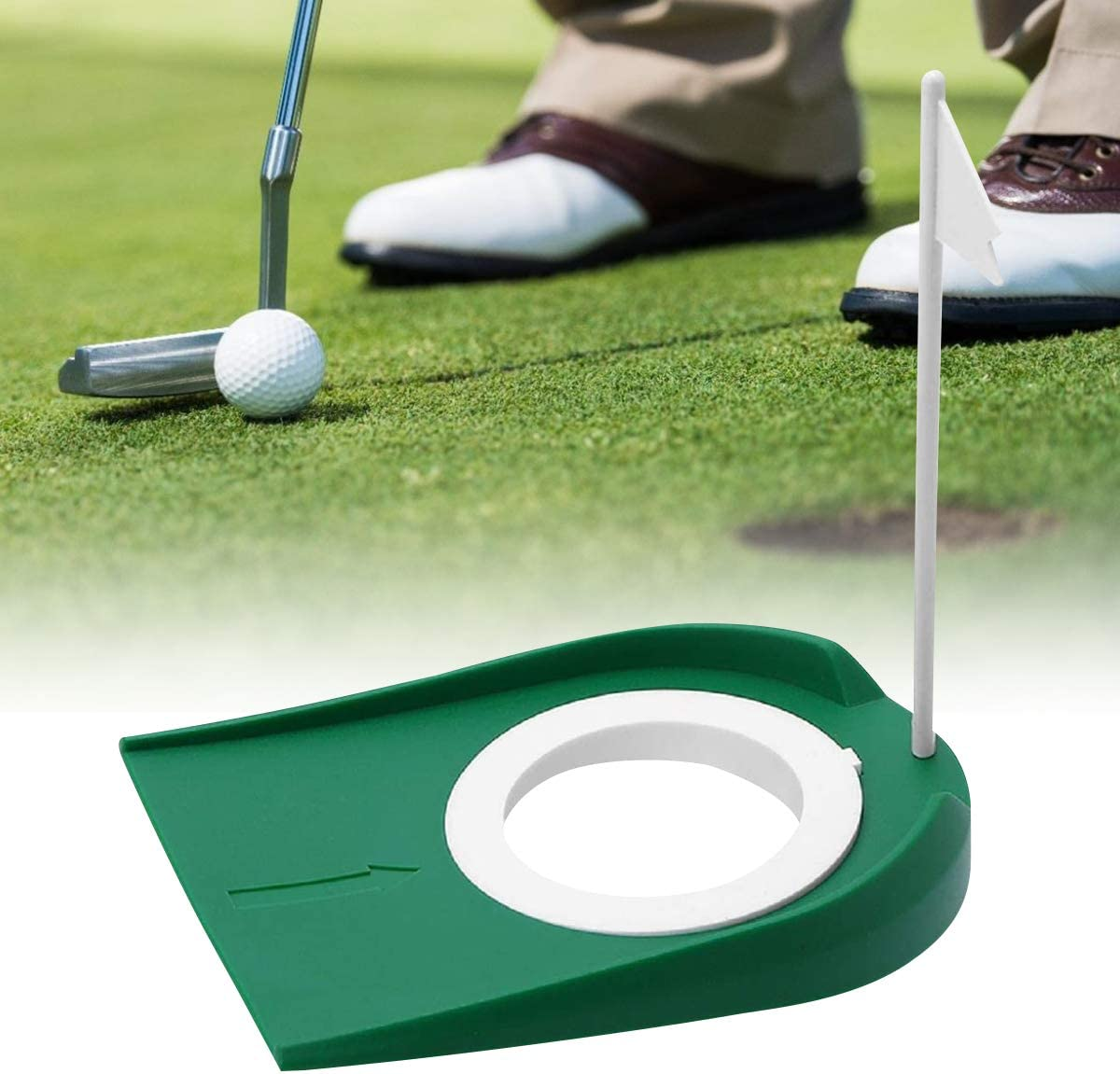 Golf Putting Cup Indoor Practice Training Aids, Golf Practice Putting Cup with Hole and Flag Plastic, for Office Garage Yard Indoor Outdoor Golf Putting Hole Putter Regulation Cup