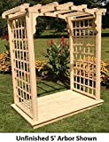 Amish-Made ''Cambridge'' Style Pine Arbor with Deck - 4' Wide Walkthrough, Oak Stain