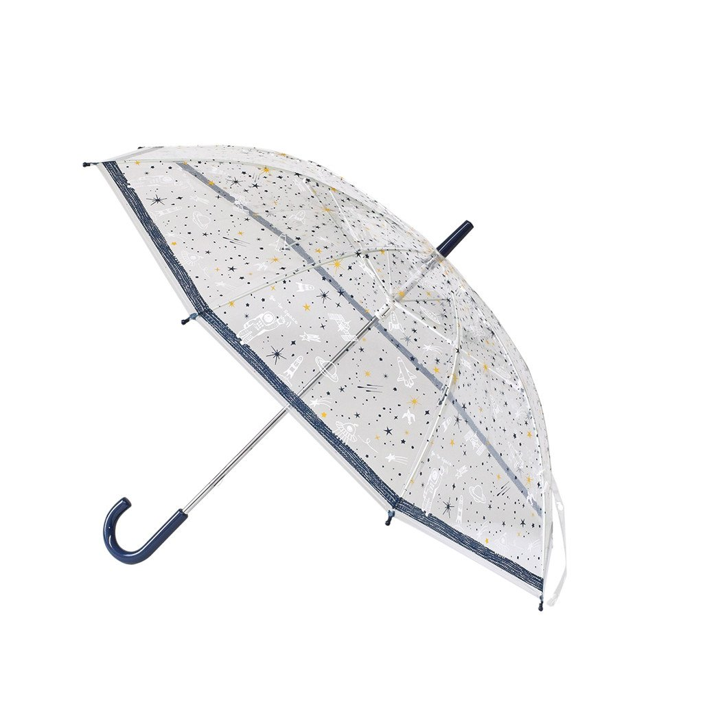 Time Concept Kids Happy Clear Umbrella - Space/Blue - Pop-Up Stick Canopy, Sun/Rain Travel Protection