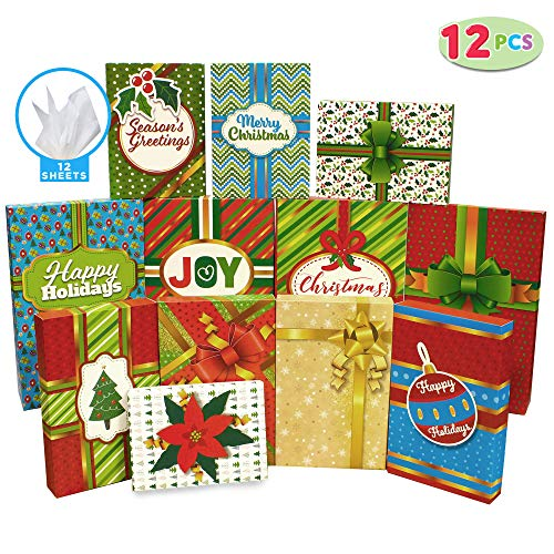 12 Pieces Christmas Holiday Gift Wrap Boxes with Multi Color Lids for Festive Xmas Wrapping Shirt, Lingerie and Robe Clothes Boxes, School Classroom Party Favors Decoration, Holiday Present Wrap Décor