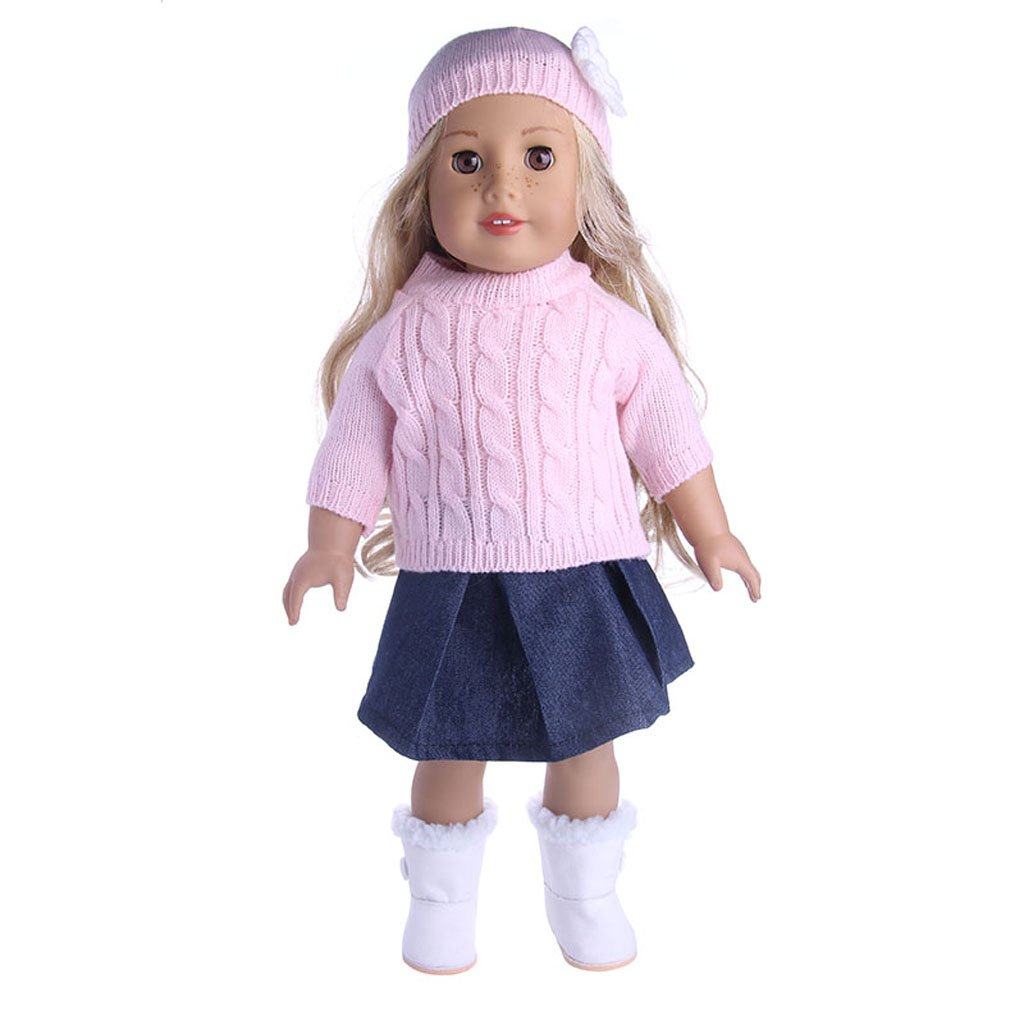 Baoblaze 3er//Set Mode Puppenkleidung Jeans Faltenrock Blumen Hut Pullover Top Outfit Für 18  American Girl Puppe