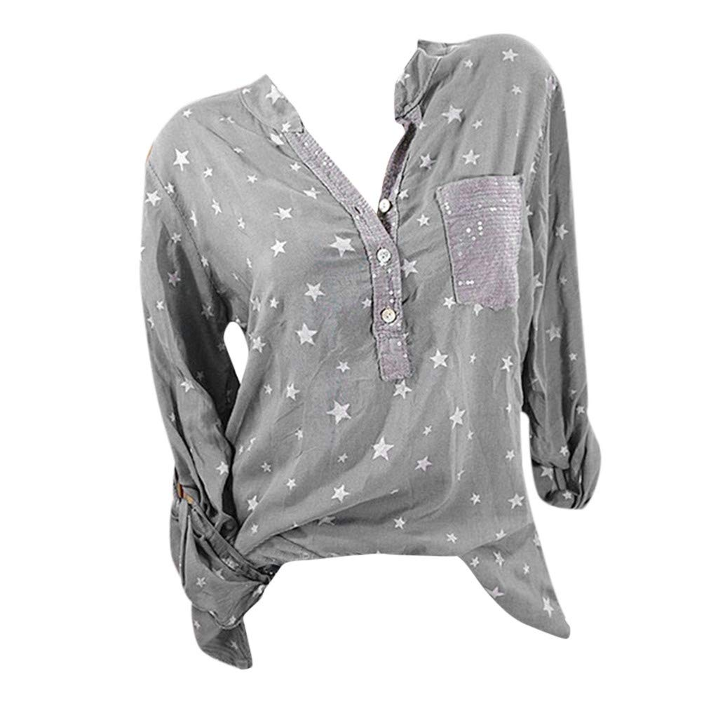 Womens Casual Stars Print V-Neck Baggy T-Shirt Tees Blouse Tops Plus Size Gray
