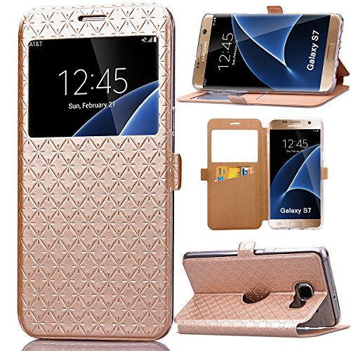 S7 Case, Galaxy S7 Case, ArtMine Quilted Plain Color Window View Function PU Leather Flip Folio Book Style Card Slots Kickstand Wallet Phone Case for Samsung Galaxy S7 Golden