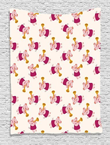 Pig Collection Pig Playing Trumpet Animal Musicians Band Joke and Cheerful Design Kids Girls Boys Magenta Mustard Salmon Supersoft Throw Fleece Blanket 59.05