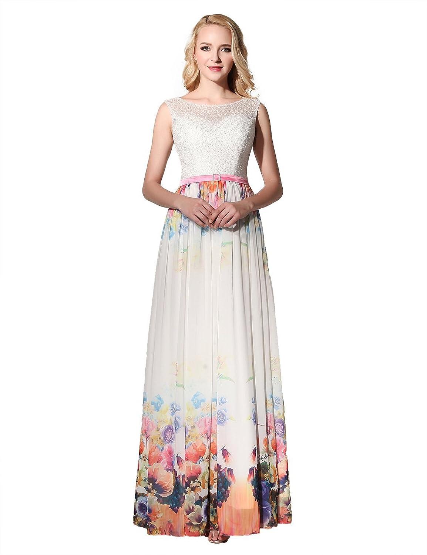 EnjoyBridal® Damen Lang Ärmellos Blumen Sommerkleid Abendkleid ...