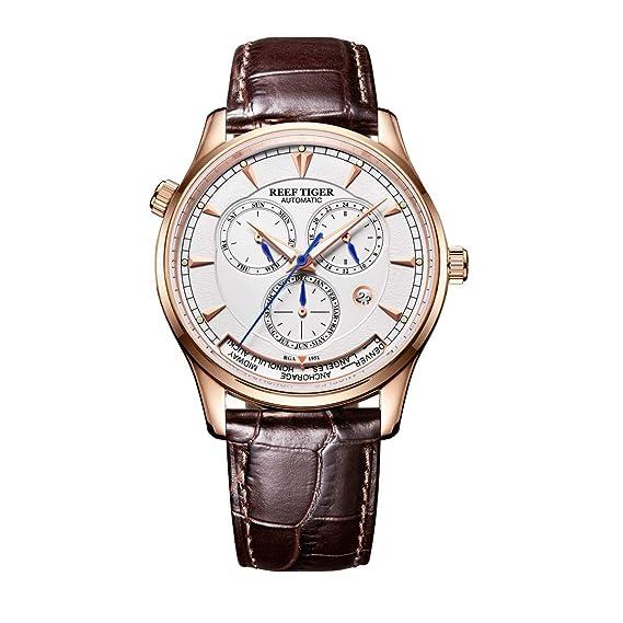 Reef Tiger Relojes para hombres del mundo Relojes analógicos automáticos Rose Gold con fecha Día RGA1951