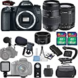 Canon EOS 70D 20.2MP Camera + Canon 18-55mm STM Lens + Tamron 70-300mm Lens + Canon 50mm 1.8 STM Lens + Shotgun Microphone Bundle + 2pc 16GB SD Card + LED Light Kit + Backpack + Scorpion Stabilizer