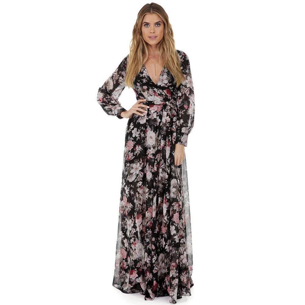 Women's Chiffon Floral Print Slim Fit Long Sleeve Deep V Neck Tie Waist Casual Long Maxi Dress (M, Beige) by Women Dresses Hechun