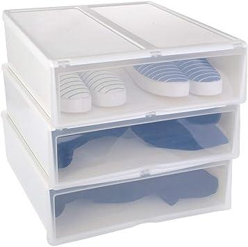 HAPI Hapilife - Caja organizadora para Zapatos y Botas con Puerta Transparente para Hombre y Mujer, Juego de 3 Botas, 34 x 44 x 14 cm, Color Blanco: Amazon.es: Hogar