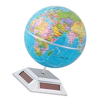 MagiDeal Giocattolo Di Globo Geografia Atlante Mappa Mondo Alimentato Energia Solare Decor Scrivania Tavolo Plastica ABS Blu