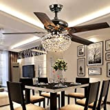 Luxurefan Retro Crystal Ceiling Fan Light Create Durable for Modern Living Room Restaurant with Elegant Crystal Cover and 5 Premium Metal Leaf Pull Chain Control of 42Inch