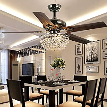Akronfire Crystal Ceiling Fan Lamp For Living Room And Bedroom Pull Chain Control The Luxury Creative