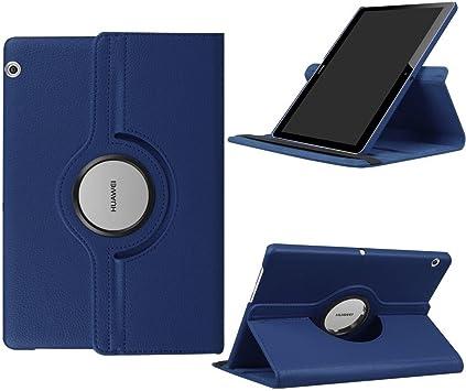 DETUOSI Fundas Huawei MediaPad T3 10 Funda de Cuero Giratoria 360 Grados Smart Case Cover Protectora Carcasa con Stand Función para Tablet Huawei T3 10 Pulgadas -Azul Oscuro: Amazon.es: Electrónica