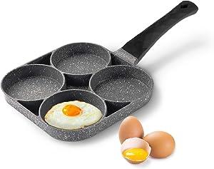 Egg Frying Pan,Pancake omelette pan,cooker pans 4-Cups non-stick cookware Aluminium Alloy Fried Egg Cooker,Black handle