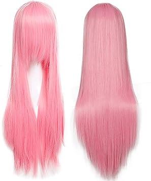 Rosa Scuro Parrucca Donna Rosa Lunga Cosplay Halloween con Frangia Capelli Sintetici Lisci 60cm Wig Pink Parrucche Parrucche per Costume Carnevale Party