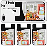 Liili Phone Card holder sleeve/wallet for iPhone Samsung Android and all smartphones with removable microfiber screen cleaner Silicone card Caddy(4 Pack) happy cartoon family with kids on the couch I