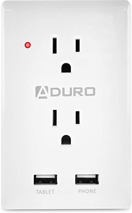 Aduro Surge Protector 2 Outlets Power Strip Station with 2 USB Ports Multiple Outlet Splitter Extender Adapter with Phone Shelf Stand ETL Listed Black