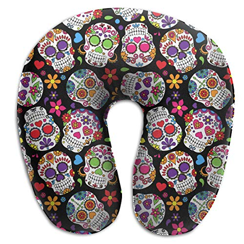 XUJ YOGA Dead Sugar Skull Memory Foam Travel Pillow Round U-Shaped Neck/Head Support Relieve Cervical Fatigue for Sleeping Airplanes Train and Camping -