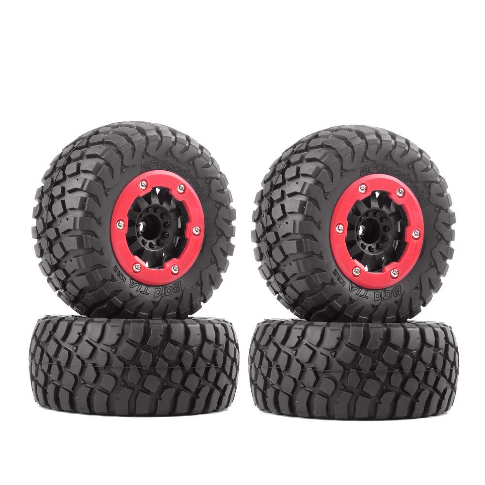 INJORA 4PCS RC Car Rubber Tire & Wheel Rim Set for 1/10 Short Course Truck VKAR TRAXXAS Slash 10SC (AX4008)