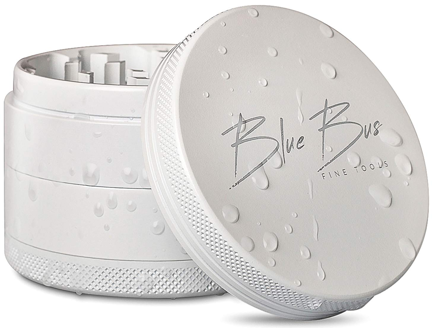"#1 NON-STICK Best Ceramic Herb Grinder, Large 2.5"" inch 4-Piece, White color, PREMIUM design by BlueBus fine tools"