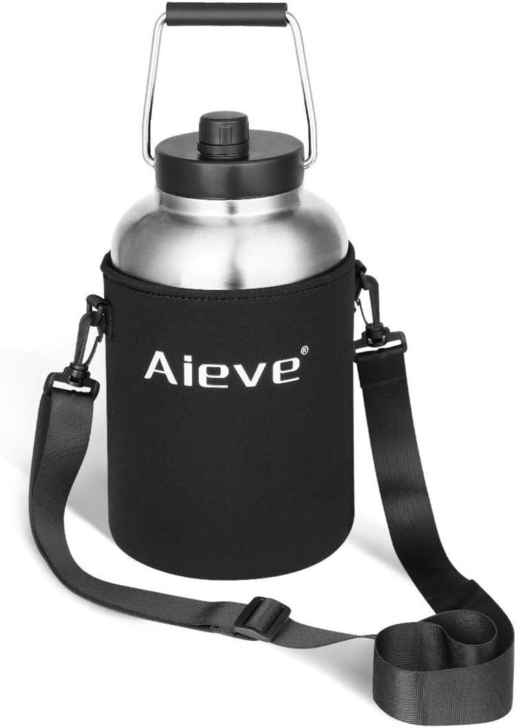 AIEVE Water Bottle Sleeve, Neoprene Travel Holder Bag with Adjustable Shoulder Strap Fits for RTIC one Gallon Vacuum Insulated Jug, YTIC Rambler one Gallon Jug (Black)