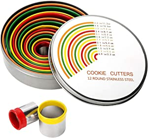 Round Cookie Biscuit Cutter Set - 12 Pack Pastry Cutters in Graduated Sizes for Donut, Dough, Fondant, Clay - Stainless Steel Circle Cutter Cake Ring Molds with Colorful Rubber Coating