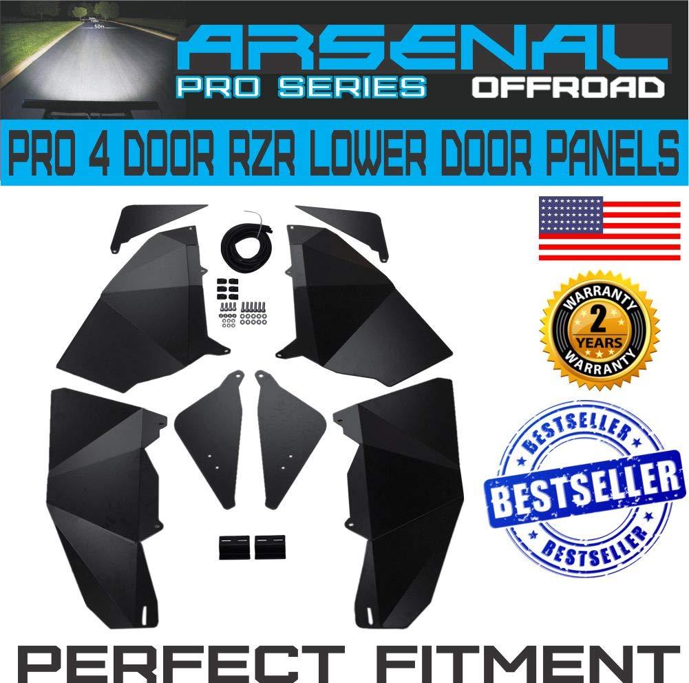 4 Door RZR Lower Door Black Satin Race Panel Inserts for14-2017 Polaris RZR XP1000 4-Door, 2016-2017 Polaris RZR Turbo 4-Door, 2015-2017 Polaris RZR 900 4-Door (4 Door) Arsenal Offroad Inc. A-RZR-14-17-4DLW-DR-INST